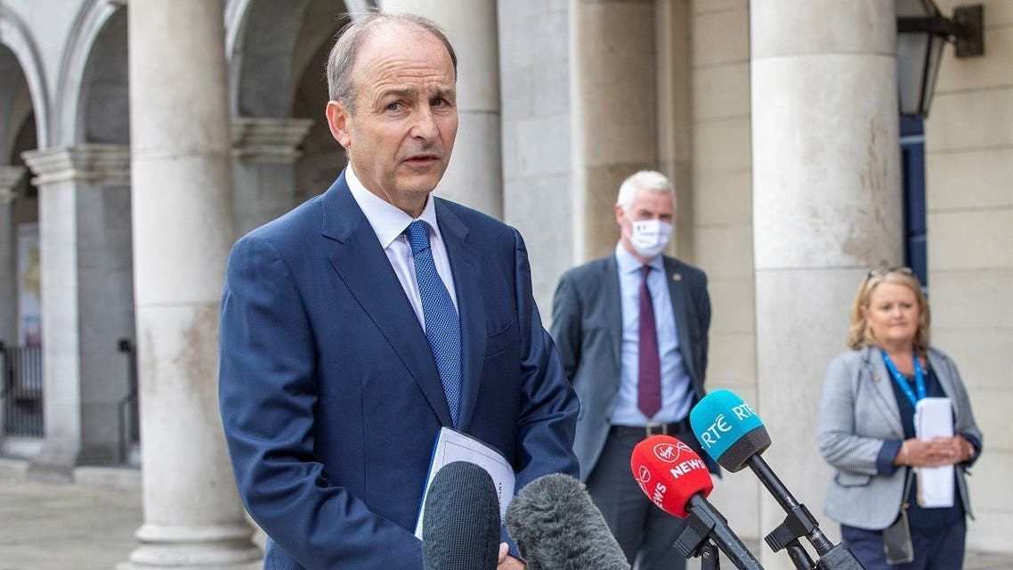 Ireland's prime minister Micheal Martin speaks to the press before a meeting of the North South Ministerial Council on July 31, 2020. (AFP)