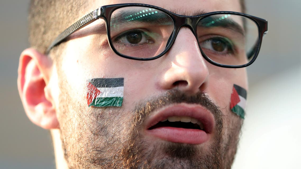 A Palestinian fan before a football match between Palestine and Jordan at Mohammed Bin Zayed Stadium, Abu Dhabi on January 15, 2019. (File photo: AFP)