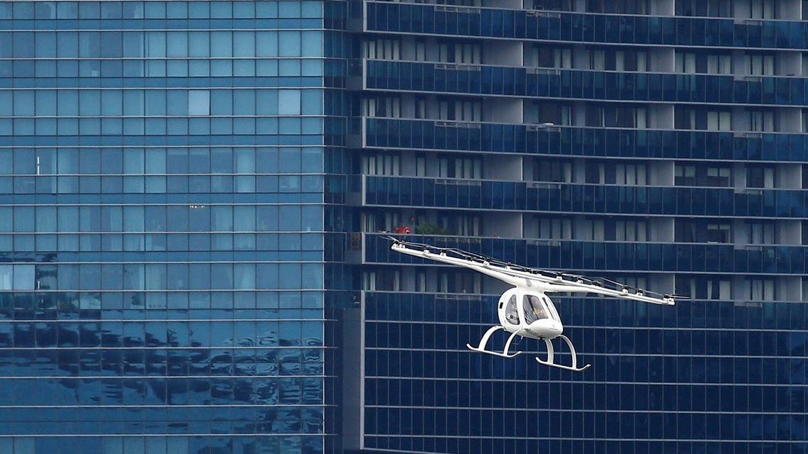 A Volocopter air taxi performs a demonstration in Singapore, on October 22, 2019. (Reuters)