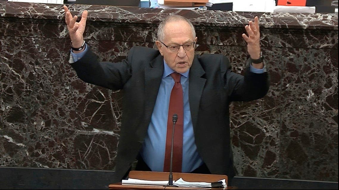 Alan Dershowitz, an attorney for President Donald Trump, answers a question during the impeachment trial against Trump in the Senate, Jan. 29, 2020. (AP)