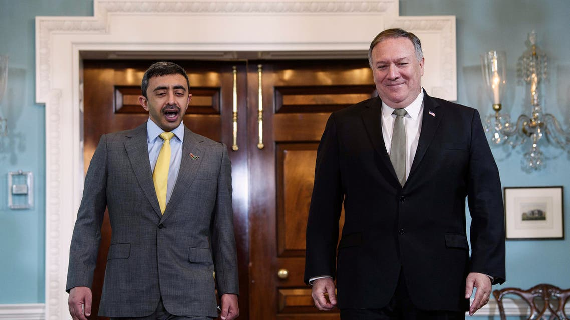 Emirati Foreign Minister Sheikh Abdullah bin Zayed Al Nahyan speaks to U.S. Secretary of State Mike Pompeo during a photo opportunity at the State Department in Washington, DC, U.S. September 16, 2020. (Reuters)