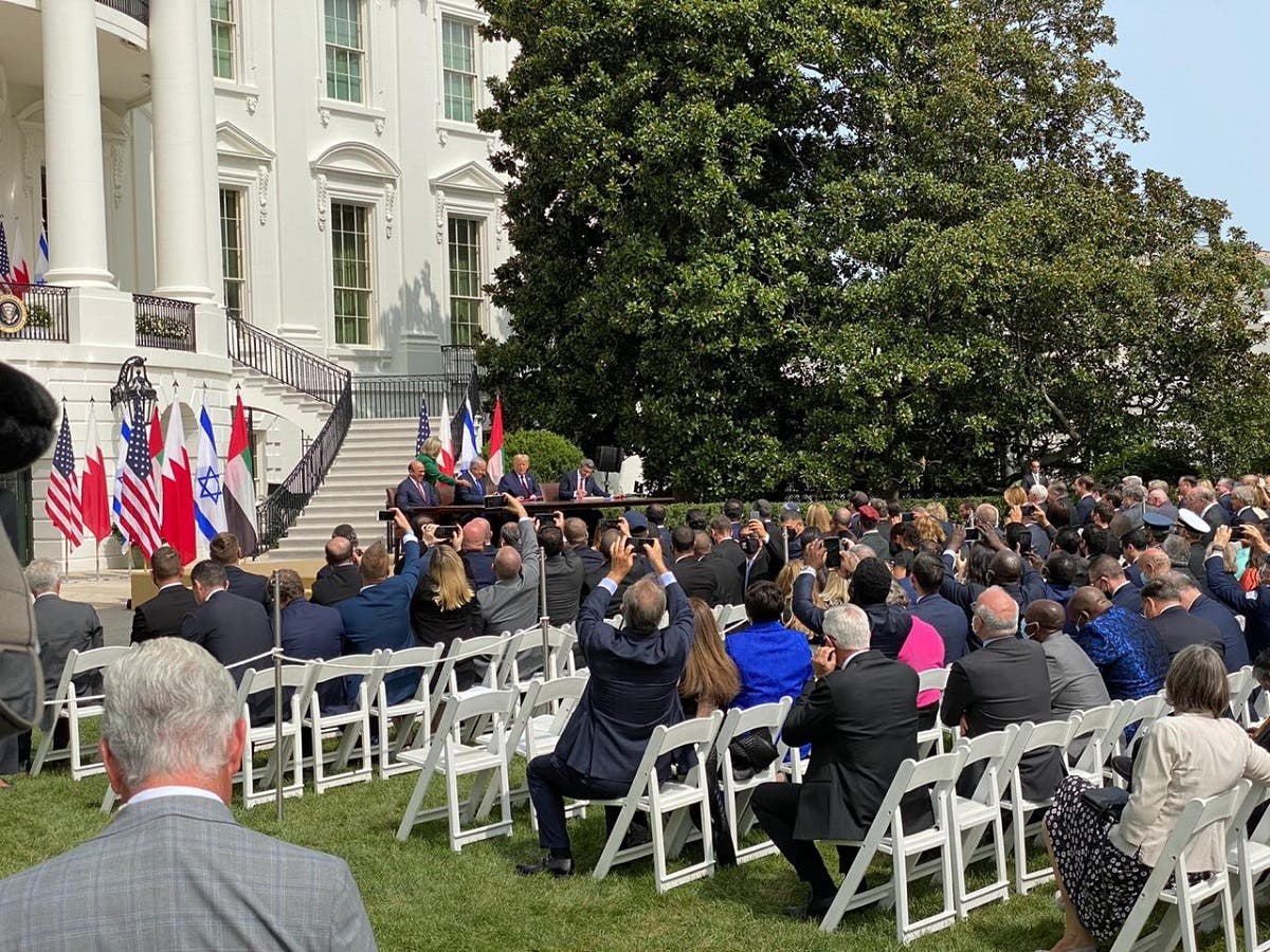 Close to 1,000 people attended the signing of the Abraham Accords at the White House, Sept. 15, 2020. (Joseph Haboush, Al Arabiya English)