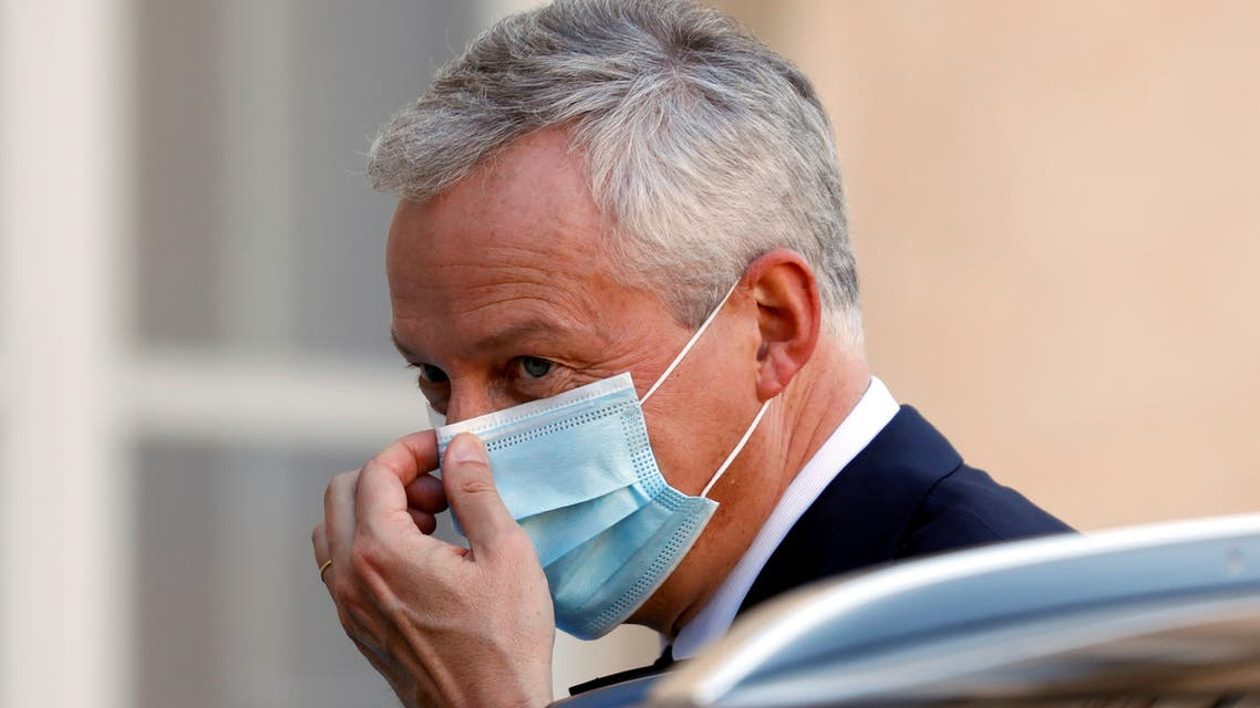 French Finance Minister Bruno Le Maire at Elysee Palace in Paris, France, September 14, 2020. (Reuters)