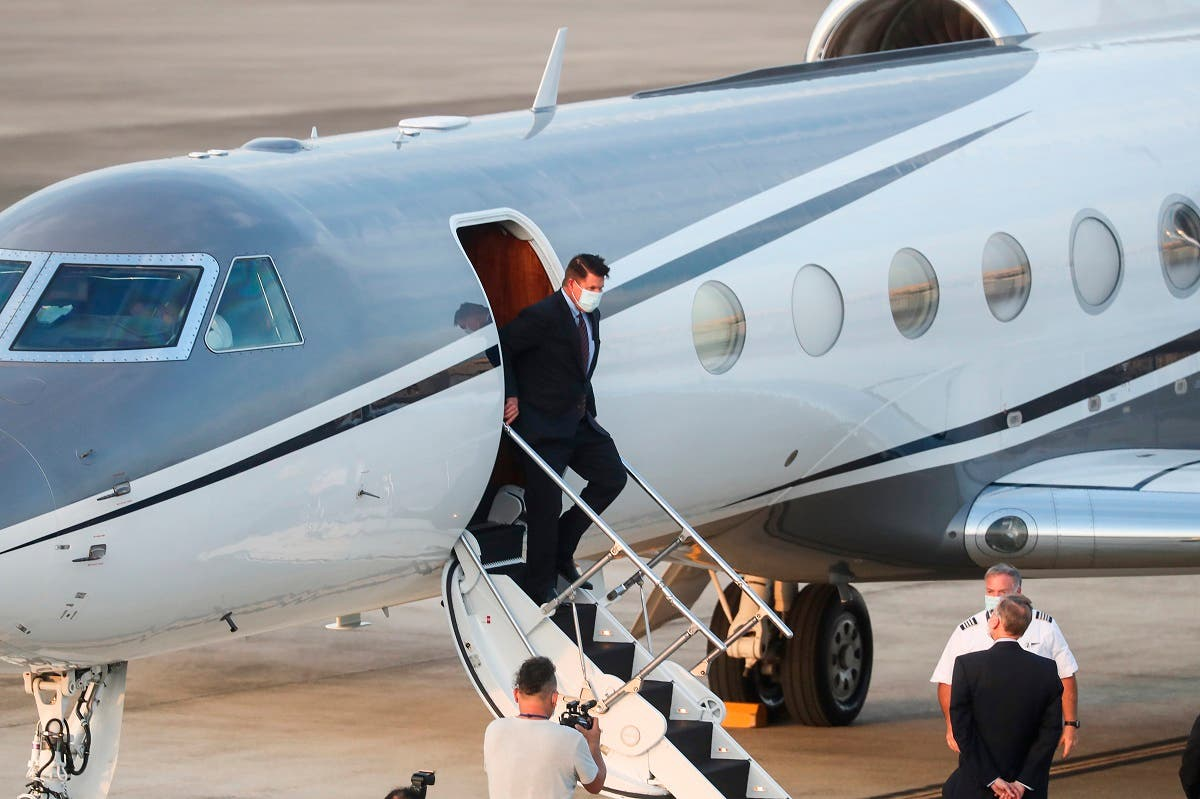 US Under Secretary of State Keith Krach exits a plane upon arrival at the air force base airport in Taipei, Taiwan, on  September 17, 2020. (AP)