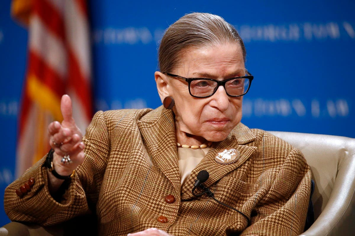 US Supreme Court Associate Justice Ruth Bader Ginsburg speaks at Georgetown University Law Center in Washington, Feb. 10, 2020. (AP)