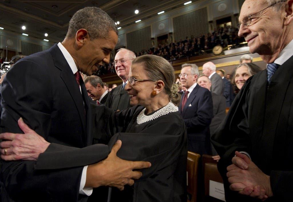 روث غينسبورغ مع باراك أوباما