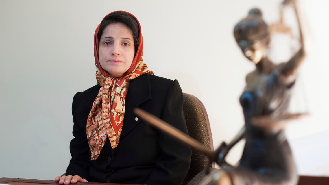 In this Nov. 1, 2008 file photo, Iranian human rights lawyer Nasrin Sotoudeh, poses for a photograph in her office in Tehran, Iran. (AP)