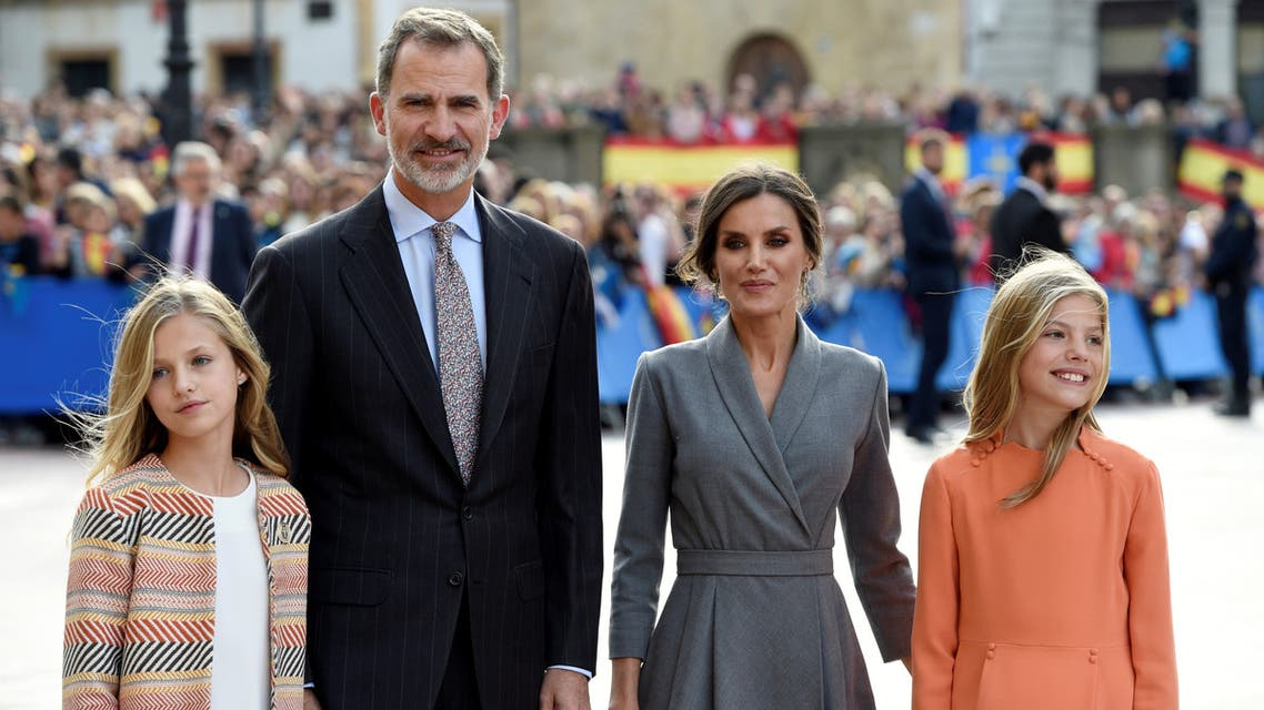 Spain's King Felipe, Queen Letizia with Princess Sofia and Princess Leonor arrive to visit the Cathedral in Oviedo, Spain, October 17, 2019. (Reuters)