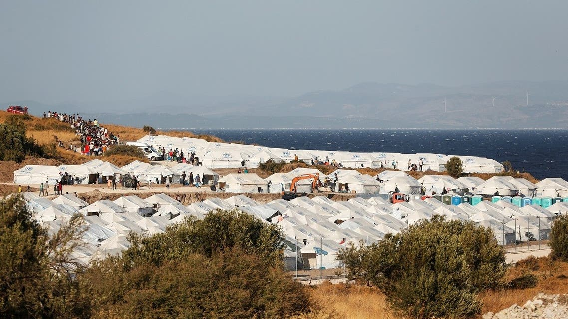 A general view of a new temporary camp for migrants and refugees is pictured on the island of Lesbos, Greece, September 19, 2020. (Reuters)