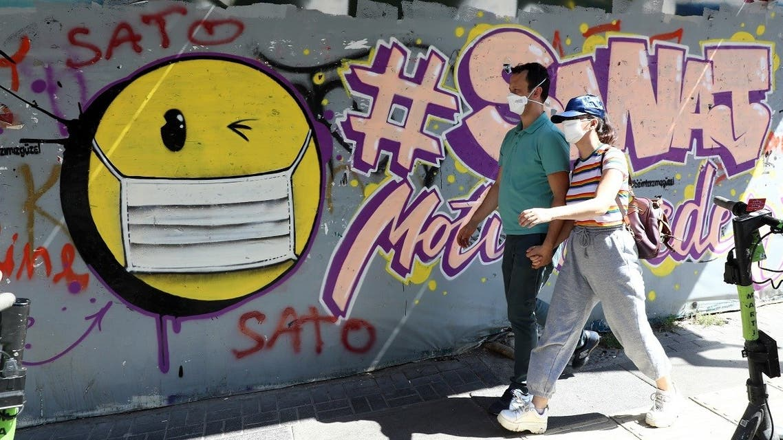 People wearing face masks walk past a graffito depicting a smiley face with a face mask in Ankara, on September 7, 2020, amid the coronavirus pandemic. (AFP)