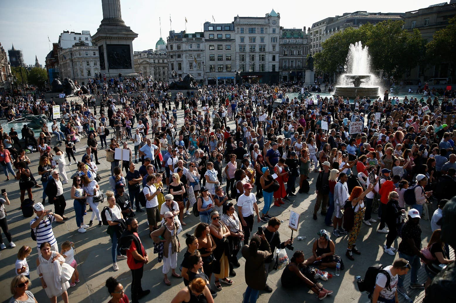 People gather in Trafalgar Square to protest against the lockdown imposed by the government, following the outbreak of the coronavirus, in London, Britain, September 19, 2020. (Reuters)