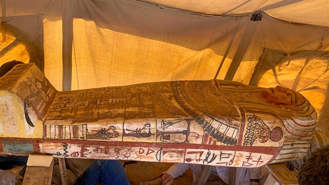 A handout picture released by the Egyptian Ministry of Antiquities on September 20, 2020, shows one of fourteen 2500 year-old coffins discovered in a burial shaft at the desert necropolis of Saqqara south of the capital. (AFP)