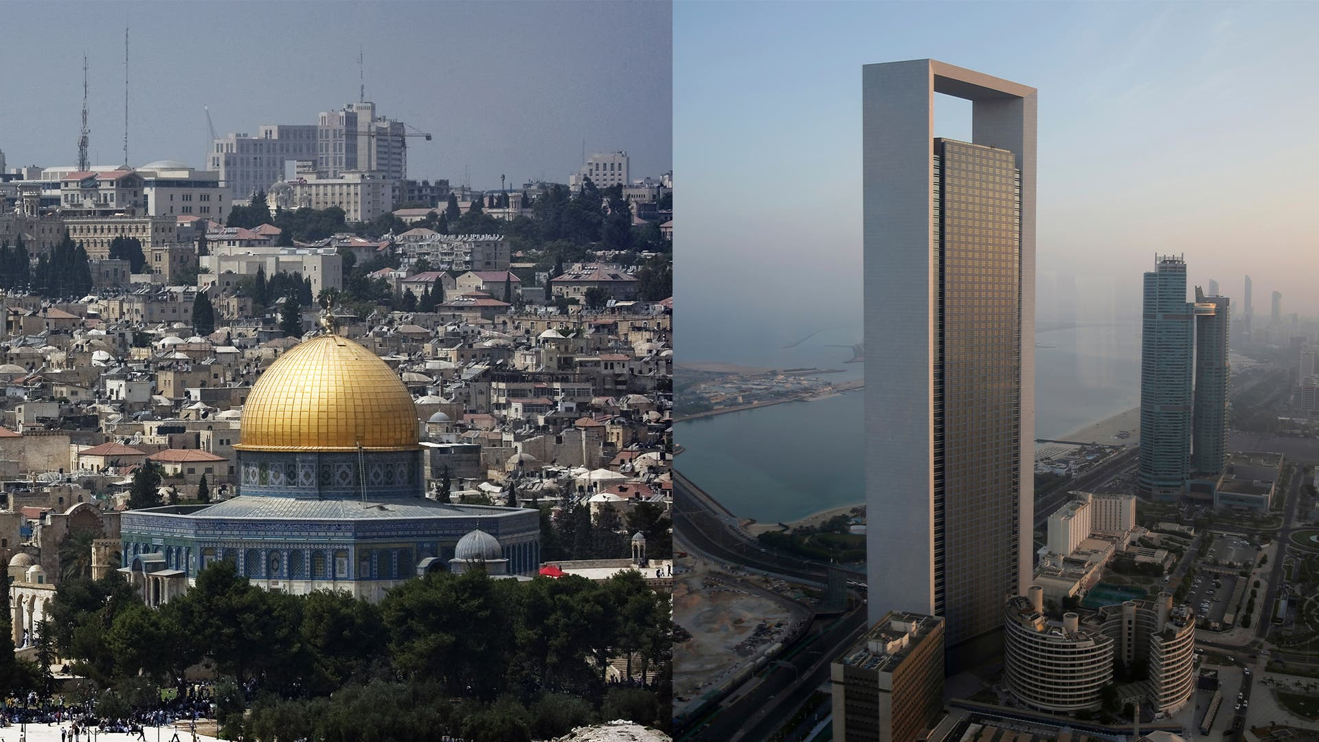A view of Jerusalem, left, and Abu Dhabi. (AFP)