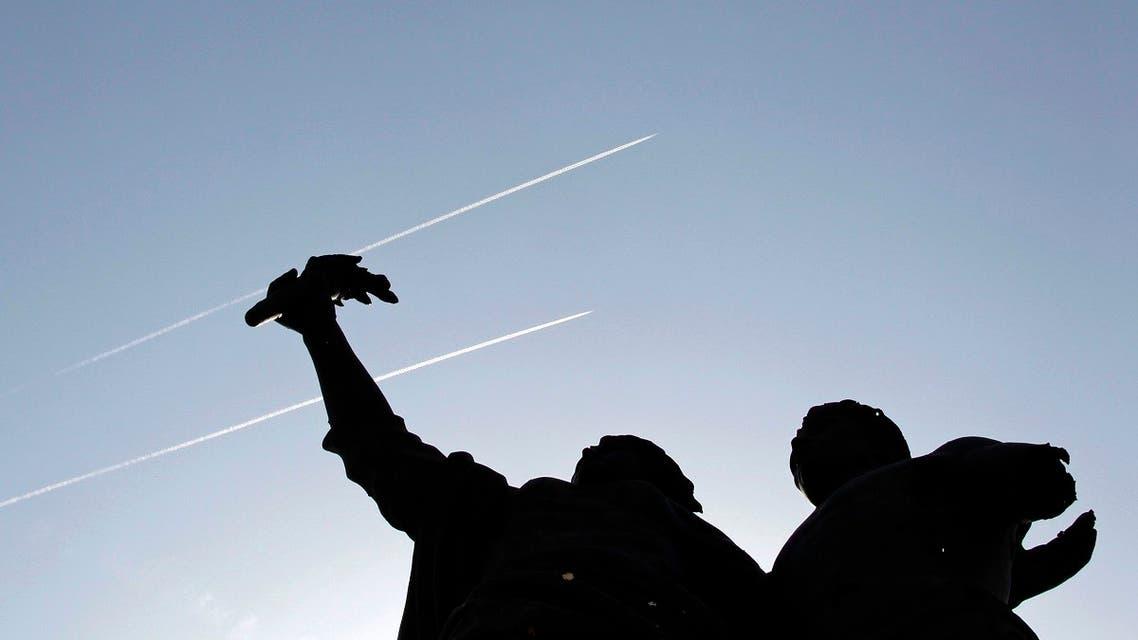 Israeli warplanes leave vapor trails in the sky above Beirut. (File Photo: Reuters)