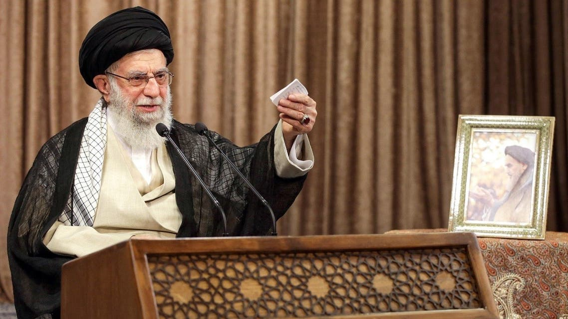 A handout picture provided by the office of Iran's Supreme Leader Ayatollah Ali Khamenei on September 21, 2020 shows him giving a speech in the capital Tehran. (Khamenei.ir /AFP)