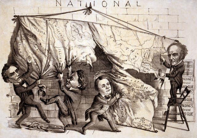 رسم كاريكاتيري يجسد انقسام البلاد عام 1860