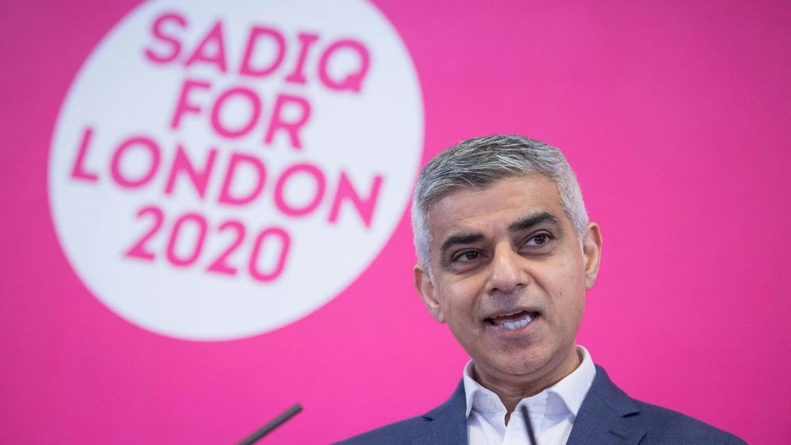 Current Mayor of London Sadiq Khan, speaks during the launch of his re-election campaign, in London, Tuesday March 3, 2020. (AP)