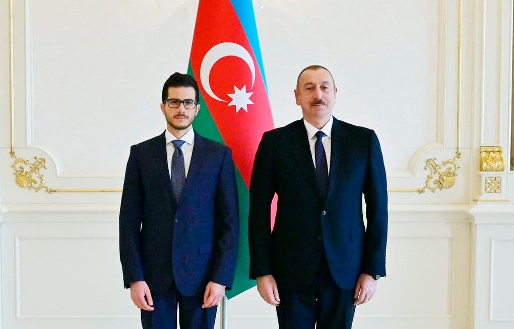 Israeli Ambassador George Deek with President of Azerbaijan Ilham Aliyev on December 25, 2019. (Twitter)