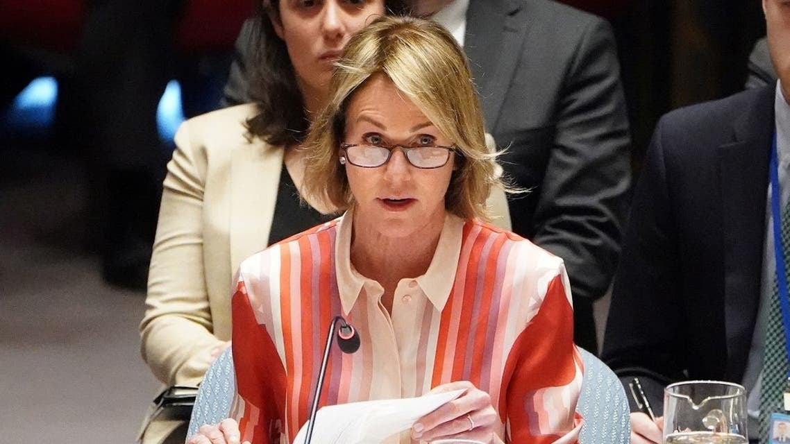 US Ambassador to the UN Kelly Craft speaks during a Security Council meeting in New York, Feb. 28, 2020. (Reuters)