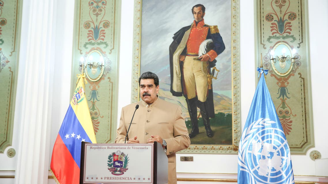 Venezuela's President Nicolas Maduro speaks at the 75th UN annual meeting from Miraflores Palace in Caracas, Venezuela, September 22, 2020. (Reuters)