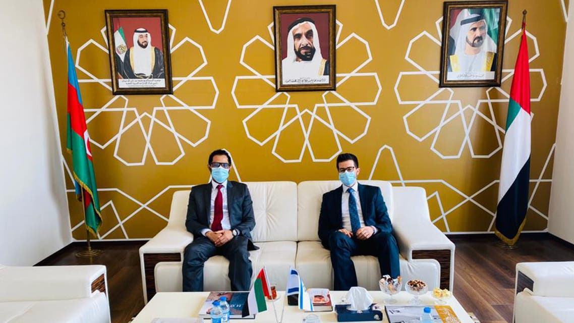 Israeli and Emirati ambassadors meet in Azerbaijan. (Twitter)