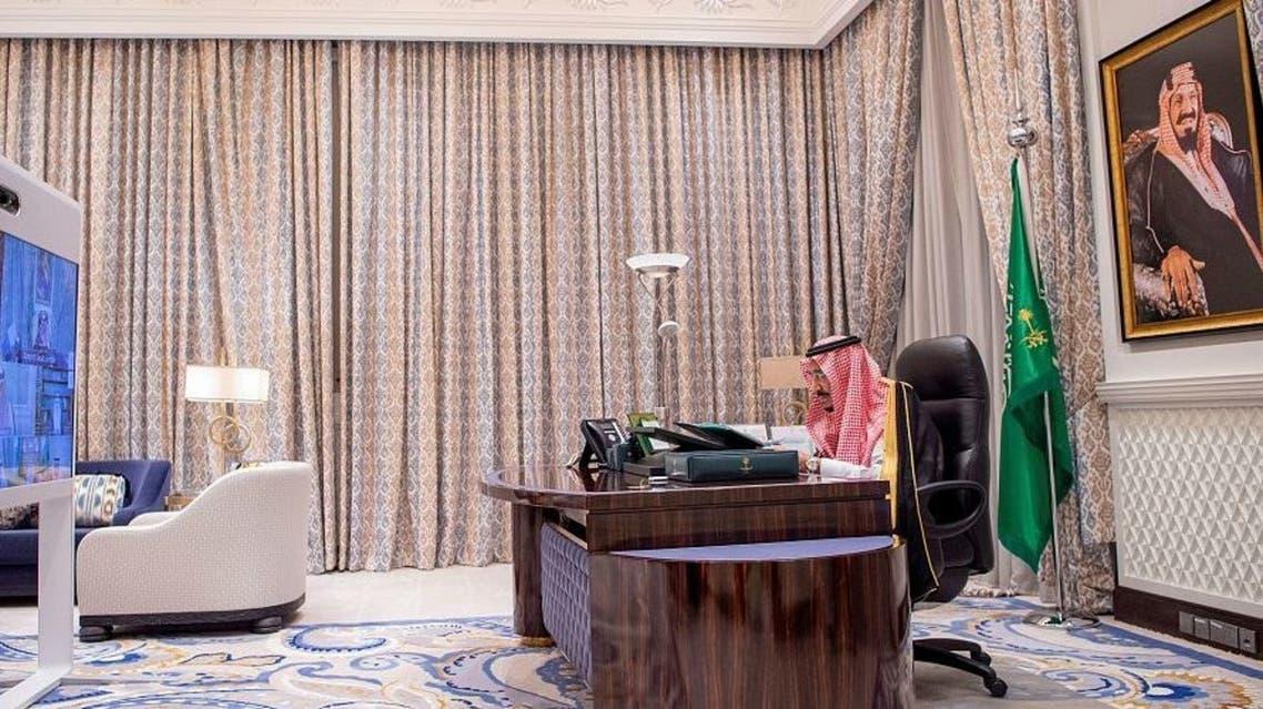 Saudi Arabia's King Salman bin Abdulaziz chairs a Cabinet's virtual session. (SPA)