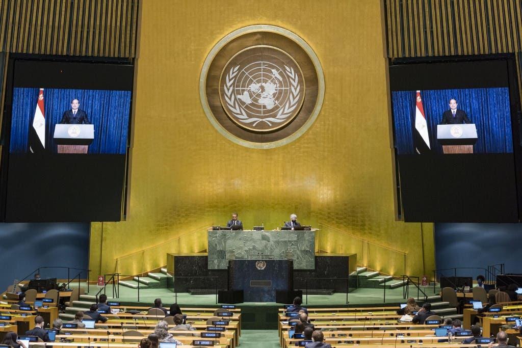 السيسي خلال كلمته في الجمعية العامة