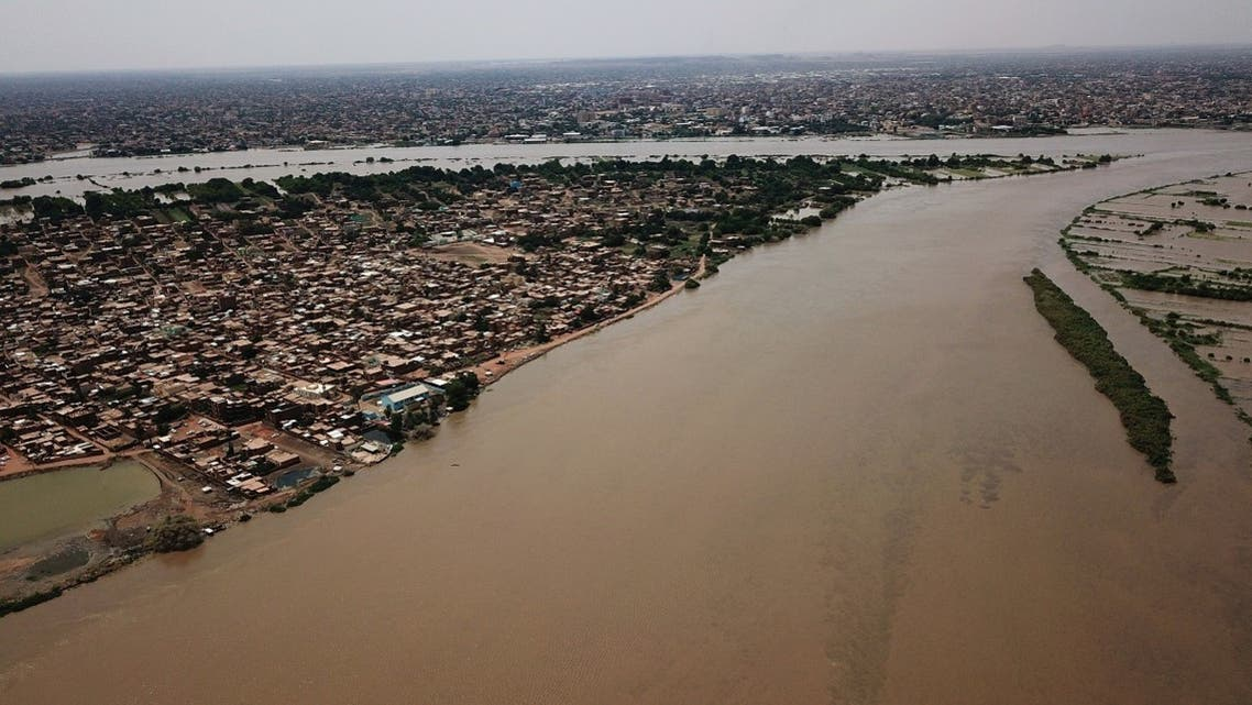 An aerial view shows buildings and roads submerged by floodwaters near the Nile River in South Khartoum, Sudan Sept. 8, 2020. (Reuters)