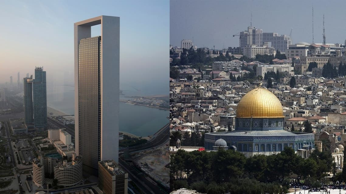 Views of Abu Dhabi, left, and Jerusalem, right. (AFP)