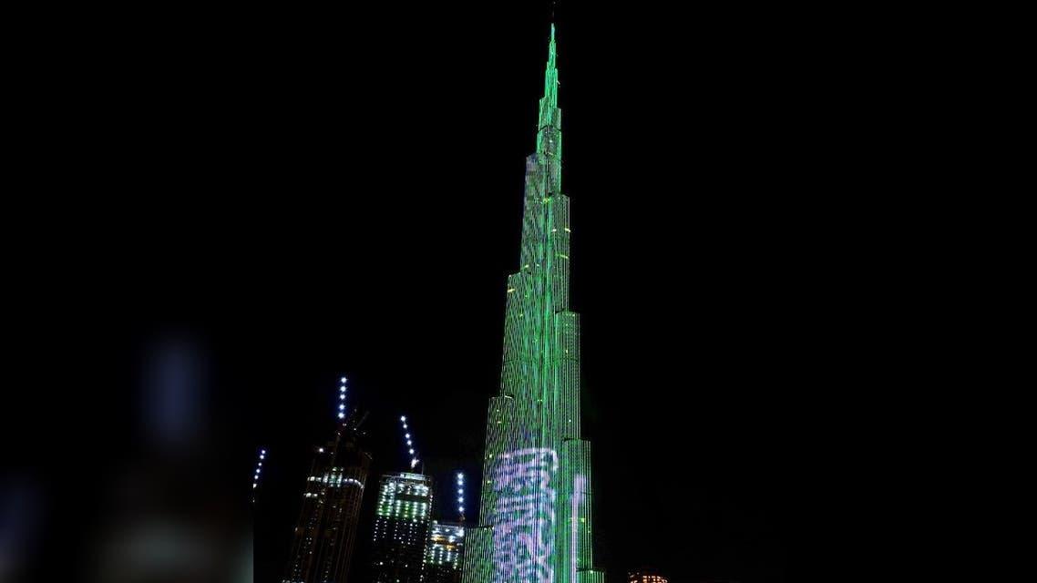 Burj Khalifa lights up with Saudi flag. (Twitter)