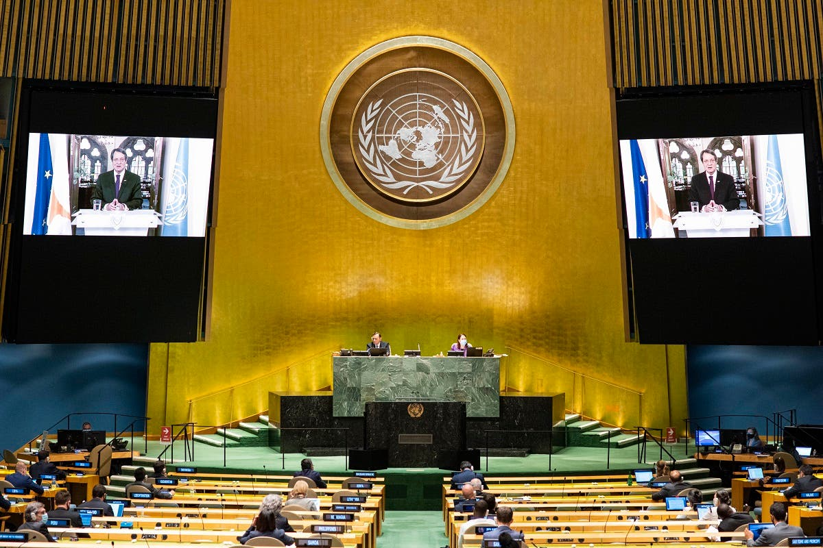Cypriot President Nicos Anastasiades virtually addresses the UN General Assembly, Sept. 24, 2020, in New York. (AFP)