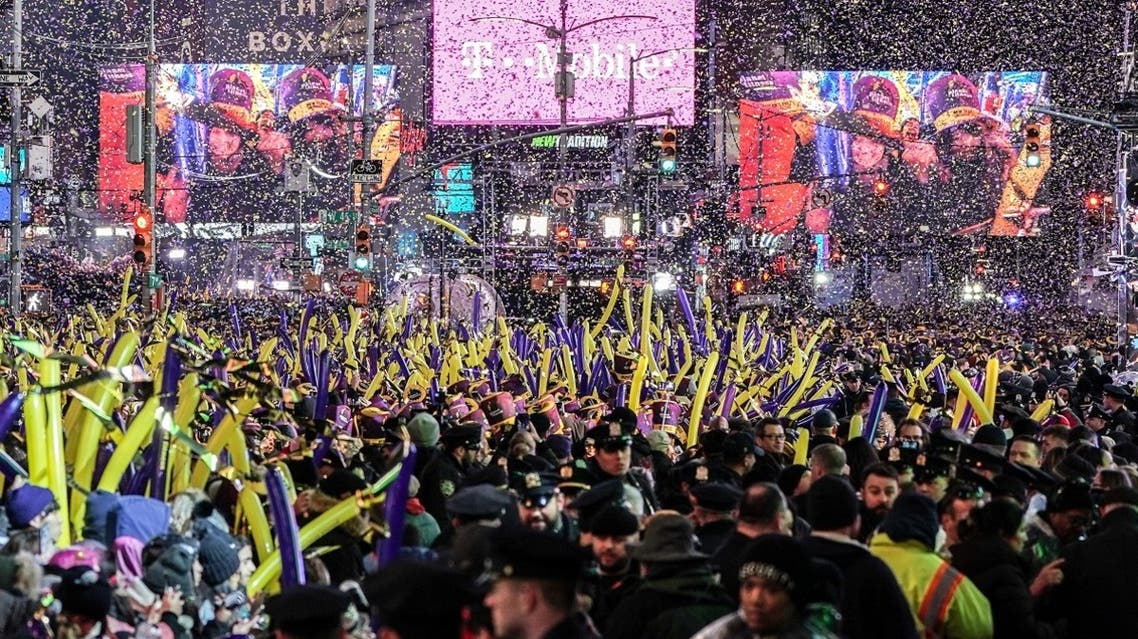 Revelers celebrate New Year's Eve in Times Square in New York City, Dec. 31, 2019.(Reuters)