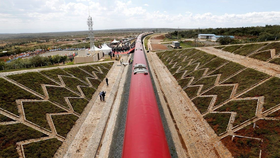 An aerial view shows a train on the Standard Gauge Railway (SGR) line constructed by the China Road and Bridge Corporation (CRBC) and financed by Chinese government in Kimuka, Kenya October 16, 2019. REUTERS