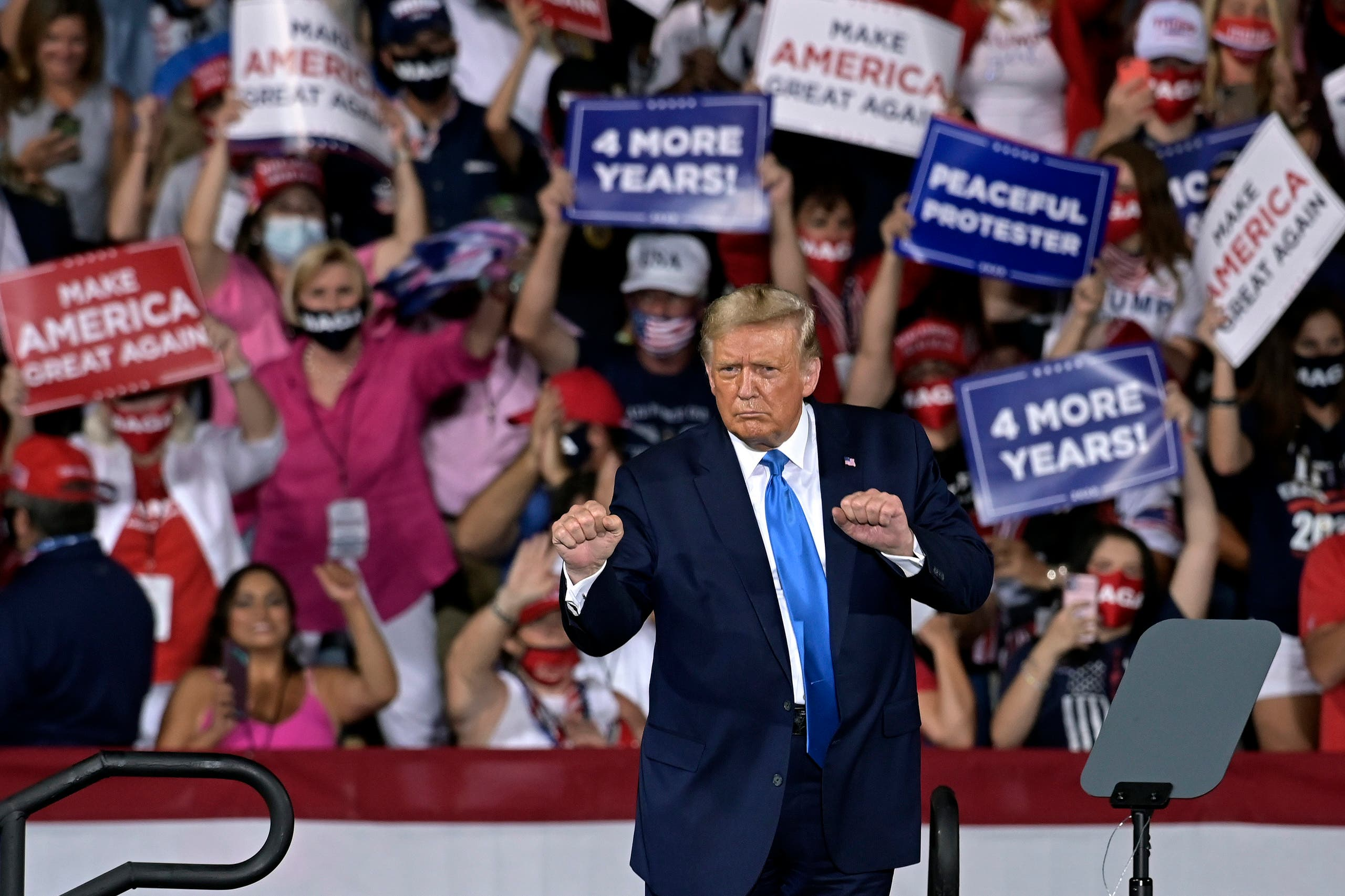 President Donald Trump at a Latinos For Trump campaign event in Florida, Sept. 25, 2020. (Reuters)