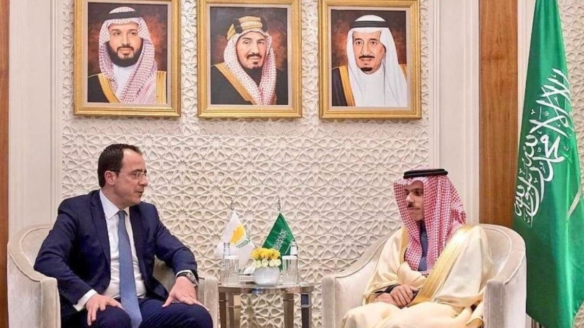Saudi Arabia's Foreign Minister Prince Faisal bin Farhan with his Cypriot counterpart Nikos Christodoulides. (Twitter)