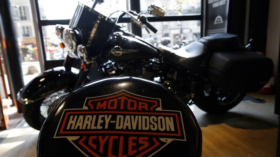 The logo of US motorcycle company Harley-Davidson is seen on one of their models at a shop in Paris, France. (Reuters)