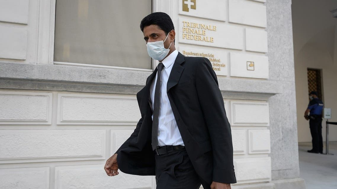 Paris Saint-Germain chief Nasser Al-Khelaifi leaves the Swiss Federal Criminal Court on the opening day of a corruption trial. (AFP)