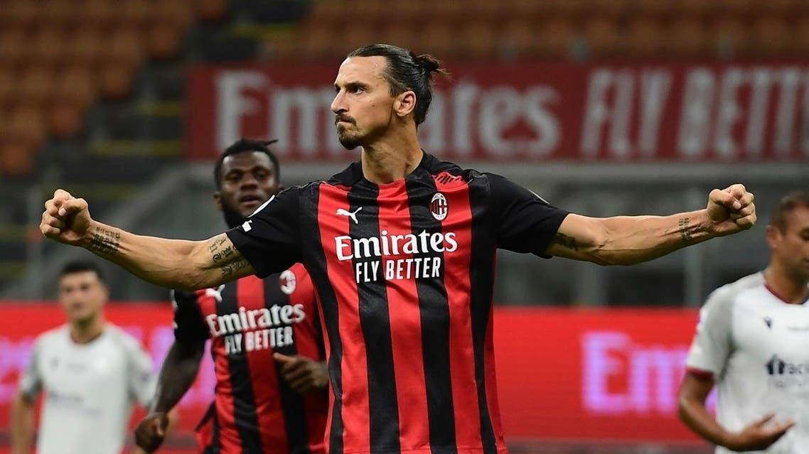 AC Milan's Swedish forward Zlatan Ibrahimovic celebrates after scoring his team's second goal vs. Bologne at the San Siro, Sept. 21, 2020. (AFP)