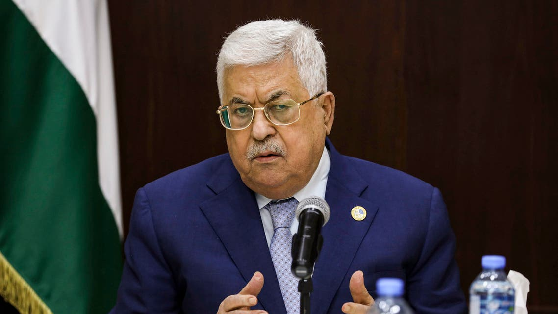 Palestinian president Mahmoud Abbas chairs a meeting of the Palestine Liberation Organization (PLO) Executive Committee at the Palestinian Authority headquarters in the West Bank city of Ramallah. (AFP)