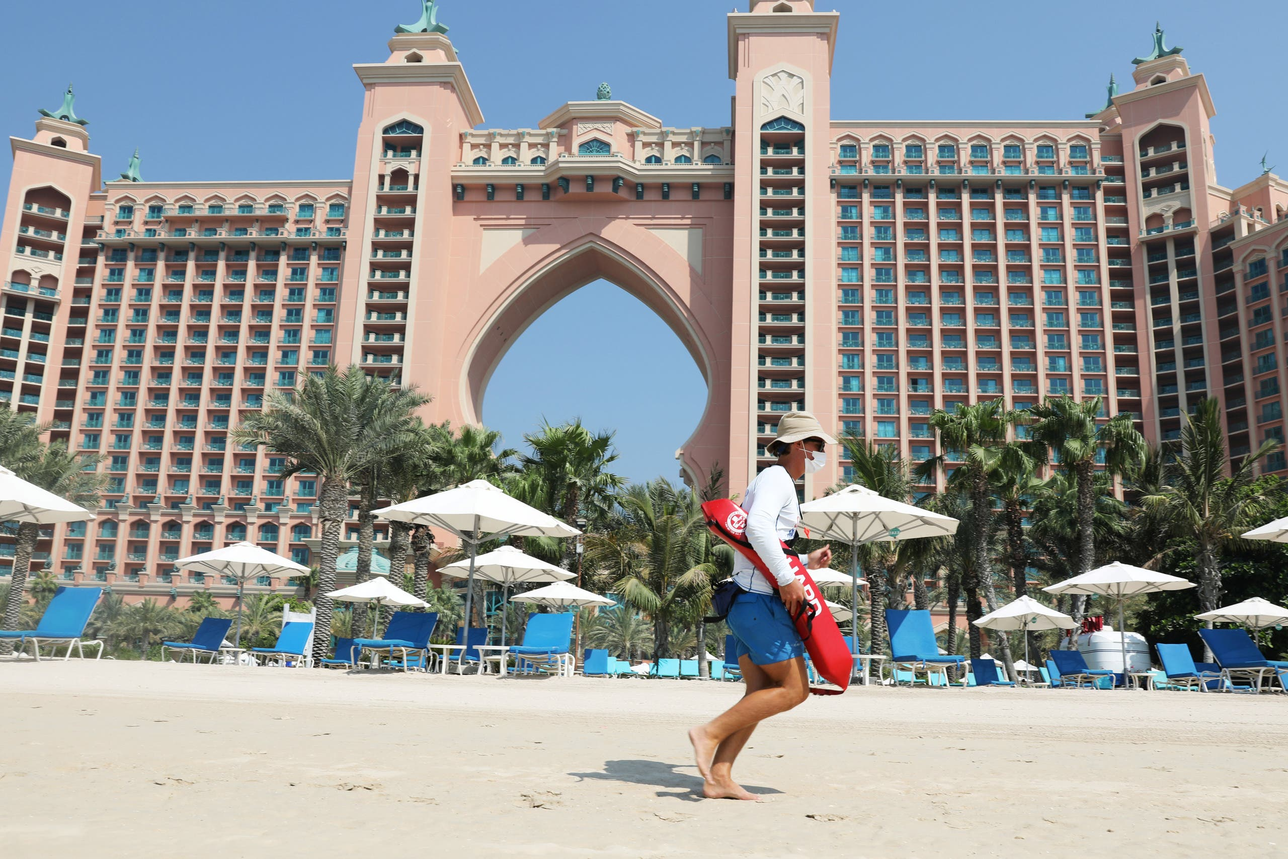 A beach lifeguard is seen at the Atlantis The Palm hotel, as the Emirates reopen to tourism amid coronavirus disease (COVID-19), in Dubai, United Arab Emirates July 7, 2020. (Reuters)