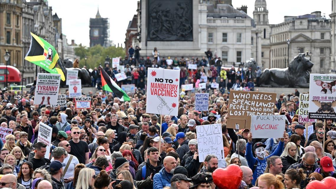 تظاهرات في لندن ضد إجراءات كورونا