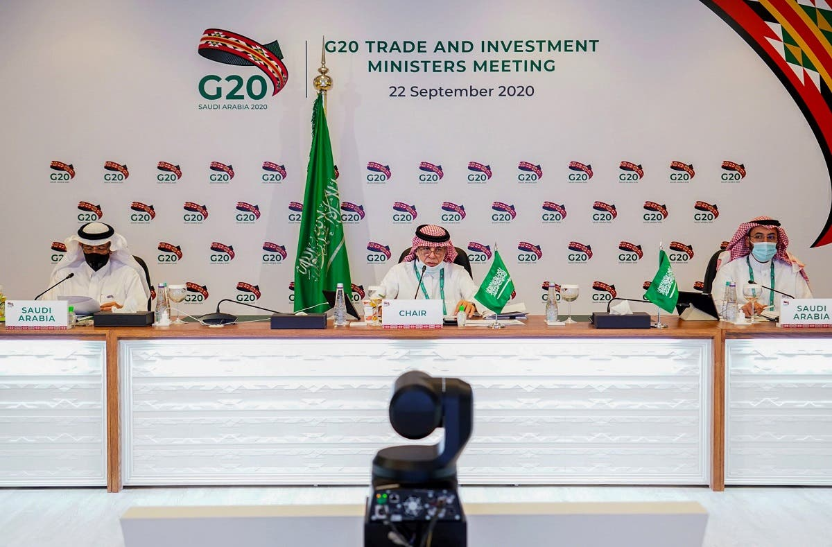 This handout picture released by G20 Saudi Arabia on September 22, 2020, shows Saudi Minister of Commerce Majid al-Qasabi (C) chairing the virtual G20 Joint Extraordinary Meeting of Trade and Investment Ministers. (AFP)
