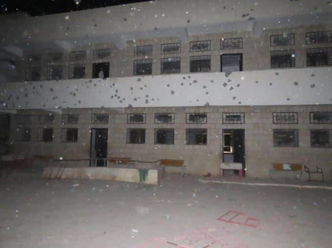 مدرسة استهدفها صاروخ الحوثيين