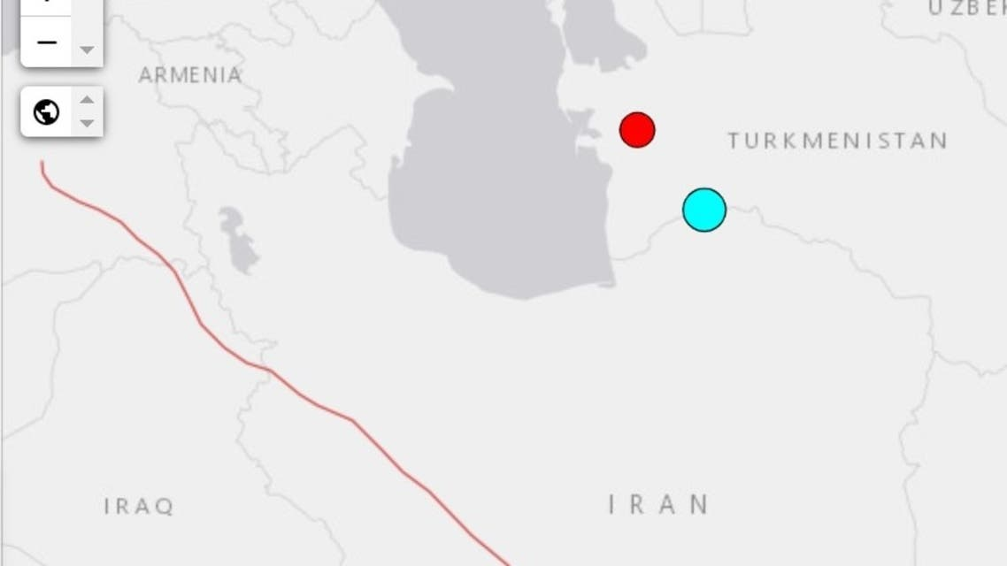 A 5.2 magnitude earthquake hits the northeastern border of Iran. (Screengrab: USGCS)