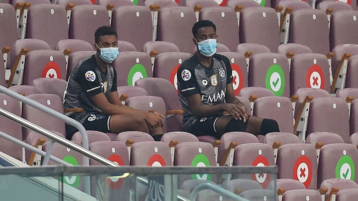 Hilal's bench players are pictured ahead of the AFC Champions League group B match between Saudi's Al-Hilal and UAE's Shabab Al-Ahli. (AFP)
