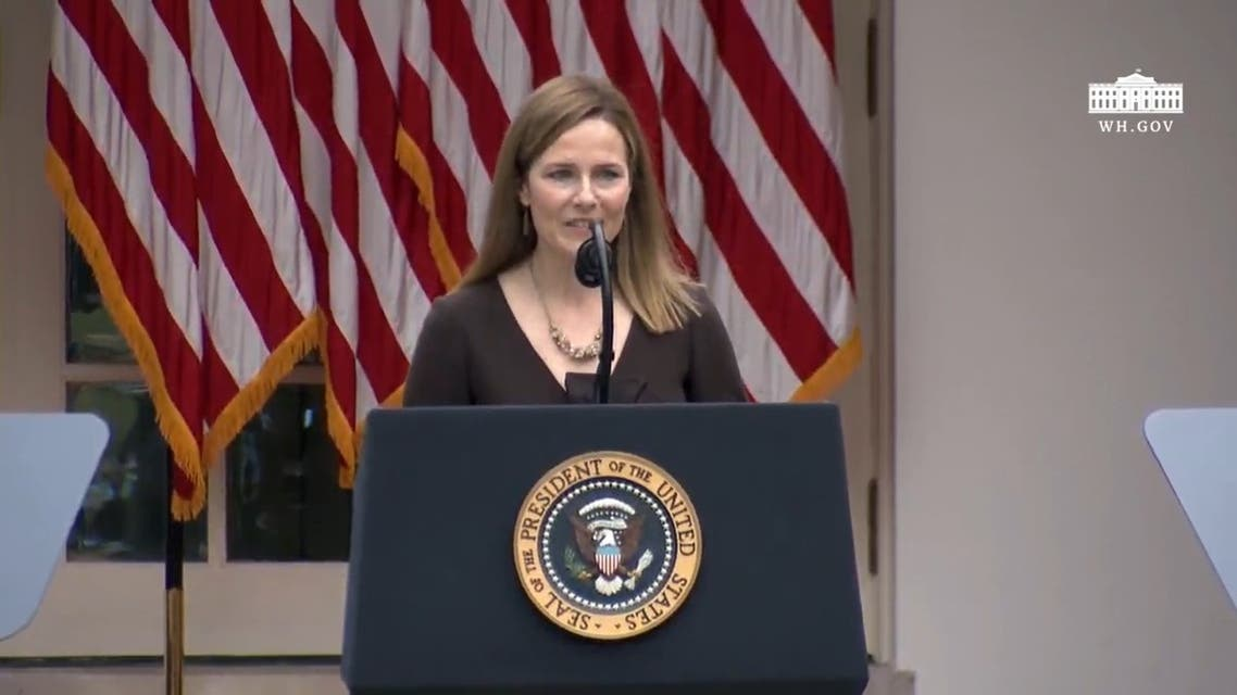Judge Amy Coney Barrett pictured during her speech after being nominated to the US Supreme Court. (White House)
