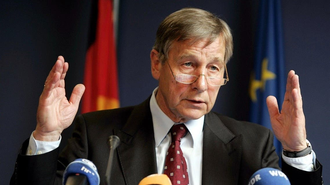 In this file photo taken on July 26, 2004 Wolfgang Clement, then German Economy and Labor Minister, gives a press conference at the EU headquarters in Brussels. (AFP)