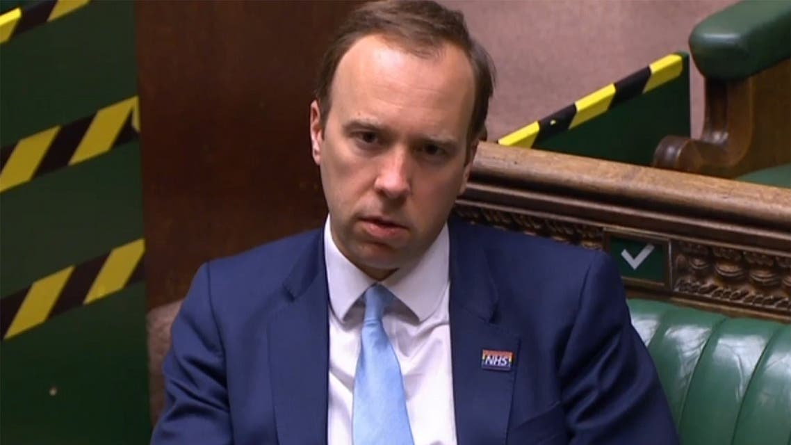 A video grab from footage broadcast by the UK Parliament's Parliamentary Recording Unit (PRU) shows Britain's Health Secretary Matt Hancock in the House of Commons in London, May 20, 2020. (AFP)