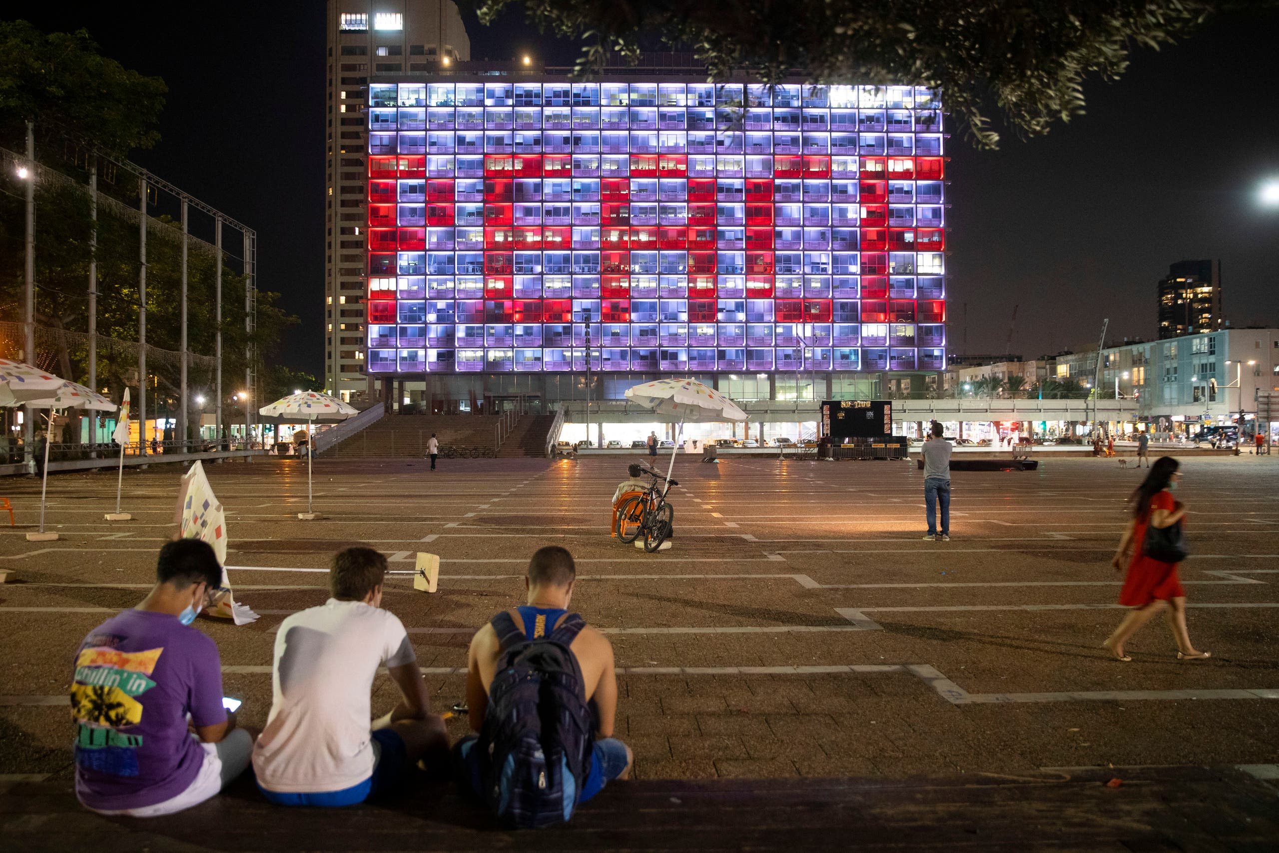 Tel Aviv City Hall lit up with the words for peace in Hebrew, Arabic and English in Tel Aviv, Israel, Tuesday, Sept 15, 2020. (AP)