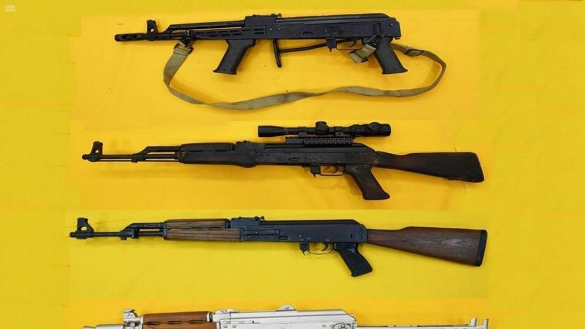 Some of the terrorist cell's weapons seized by the Saudi authorities. (Twitter/pss_ar)
